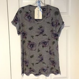 Anthropologie t.la Floral Tee Heather Gray Size L